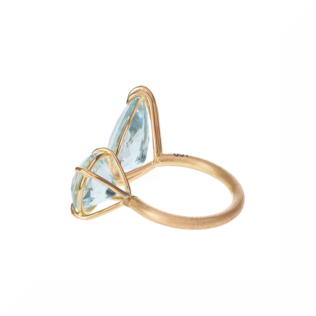 Aquamarine Duet Ring back view by McFarlane Fine Jewellery