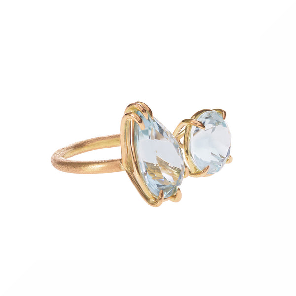 Aquamarine Duet Ring side view by McFarlane Fine Jewellery