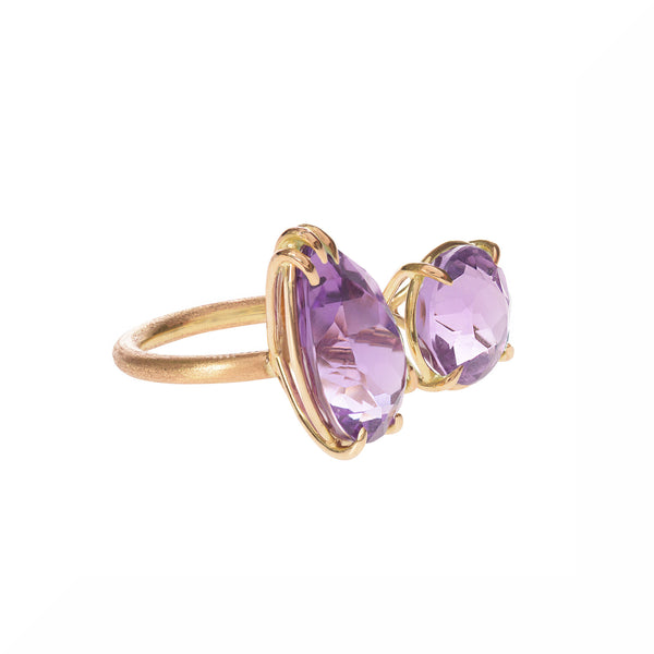 Amethyst Duet Ring side view by McFarlane Fine Jewellery