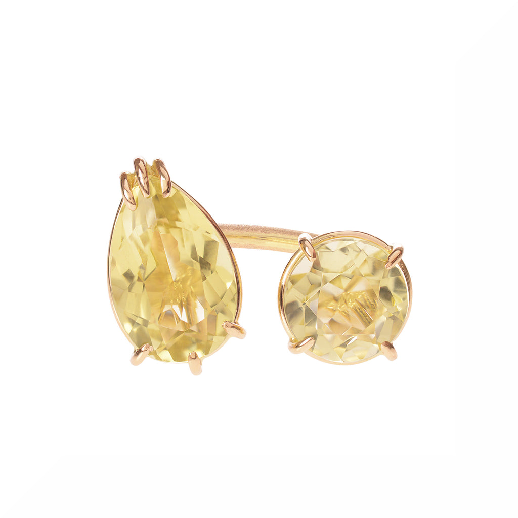 Lemon Citrine Duet Ring