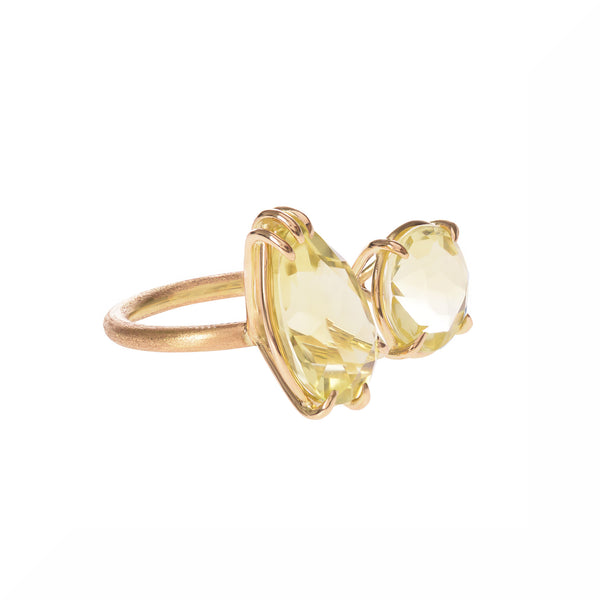 Lemon Citrine Duet Ring side view by McFarlane Fine Jewellery