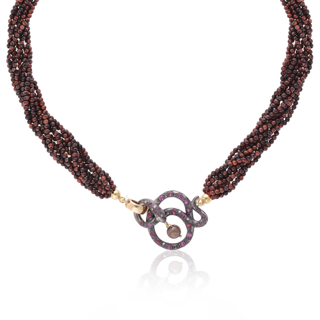 Black Snake & Red Tiger Eye Necklace with diamonds and rubies by Love Is