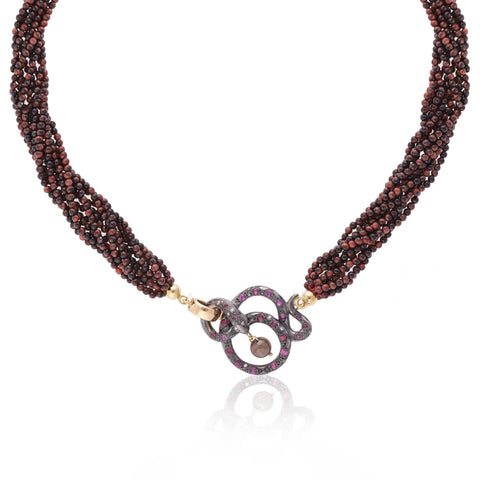 Black Snake & Red Tigereye Necklace with diamonds and rubies by Love Is