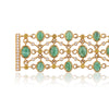 Brazilian Emeralds, diamond and sapphire bracelet pictured open with clasp created by Esther McFarlane for McFarlane Fine Jewellery