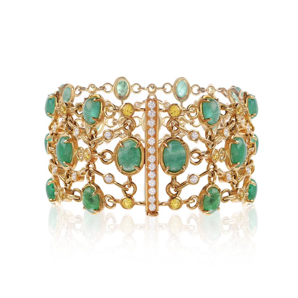 Brazilian Emeralds, diamond and sapphire bracelet created by Esther McFarlane for McFarlane Fine Jewellery