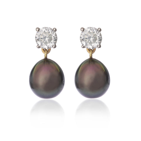Black Tahitian Pearl & Zircon Stud Earrings