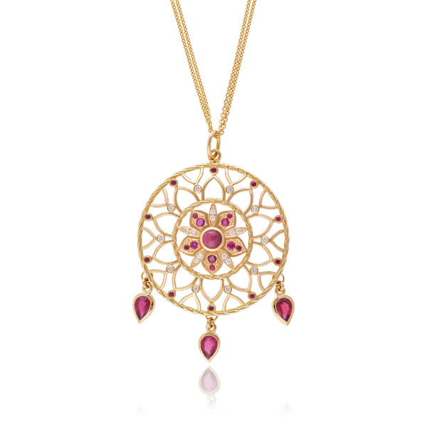 18ct yellow gold and diamond Ruby Dreamcatcher by McFarlane Fine Jewellery