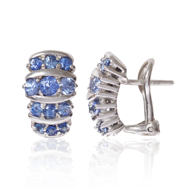 Blue Sapphires All in a Row Earrings by McFarlane Fine Jewellery