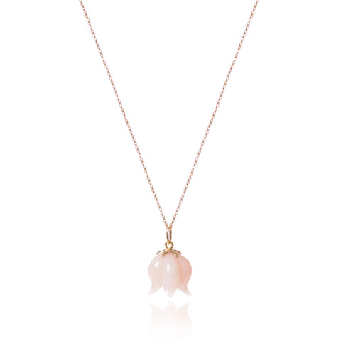 Pink Opal Bellflower Necklace