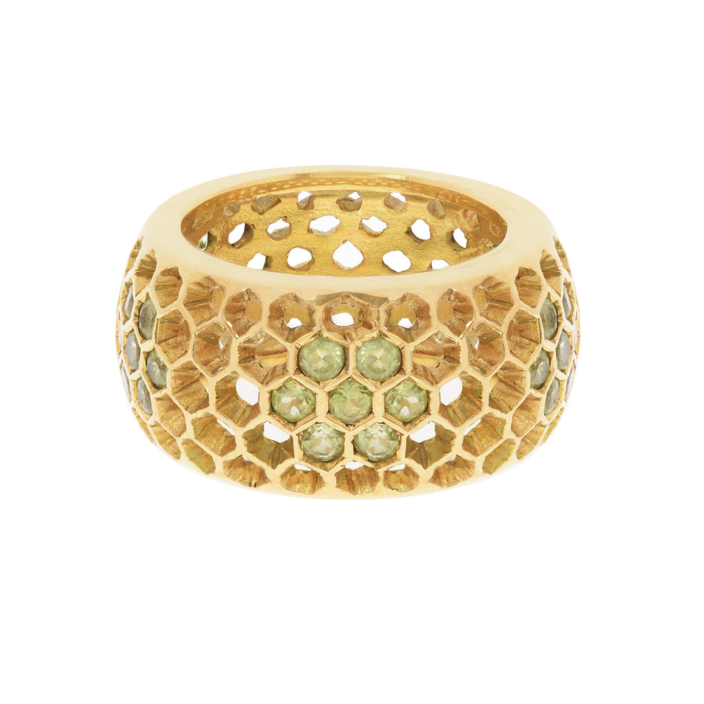 18ct yellow gold Beehive Peridot Ring by Love Is