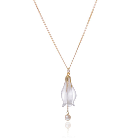 Frosted Flower Quartz & Pearl Necklace