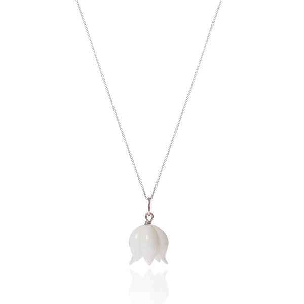 18ct white gold White Bellflower Necklace by McFarlane Fine Jewellery