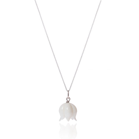 White Opal Bellflower Necklace