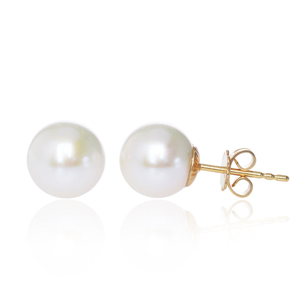 Big White Pearl Studs handmade in Switzerland in 18ct yellow gold by McFarlane Fine Jewellery