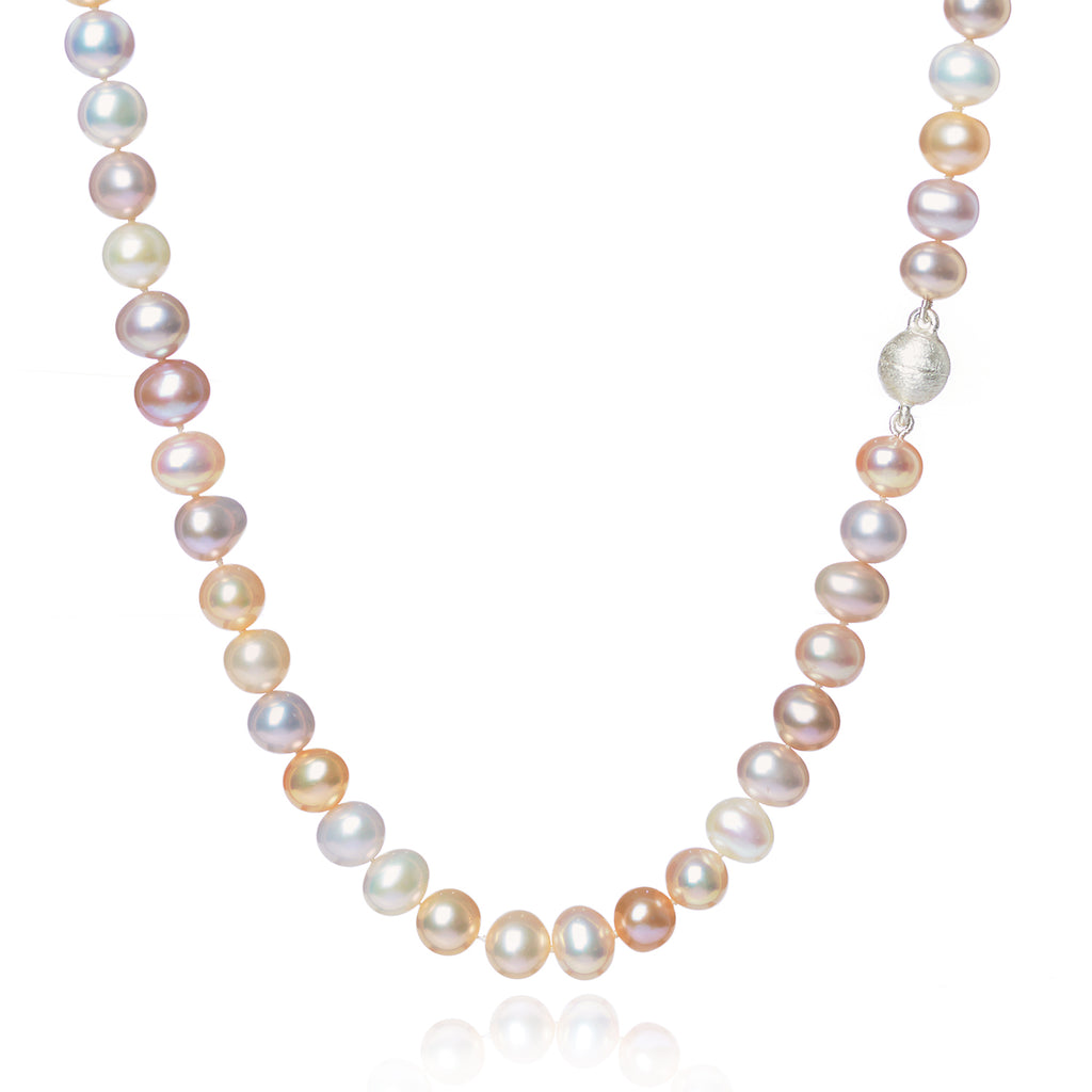 Pink Pearl Necklace with a matt magnetic clasp by McFarlane Fine Jewellery
