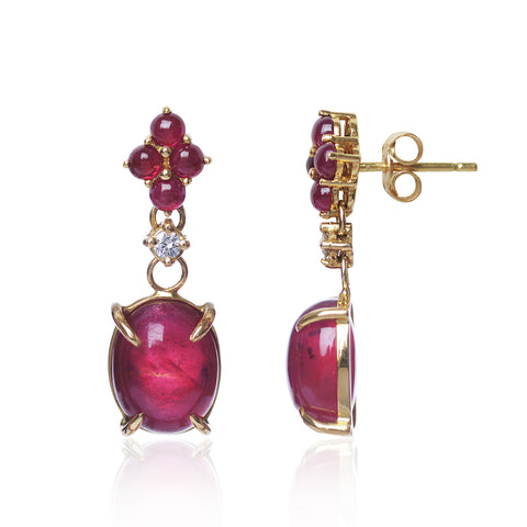 Ruby Red Earrings set in 18ct yellow gold with a small set diamond. Handmade in Switzerland by Esther McFarlane for Love Is
