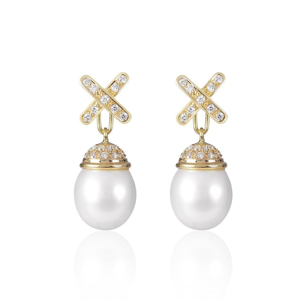 Decadent Cross Pearl Earrings with detachable Pendant by Love Is