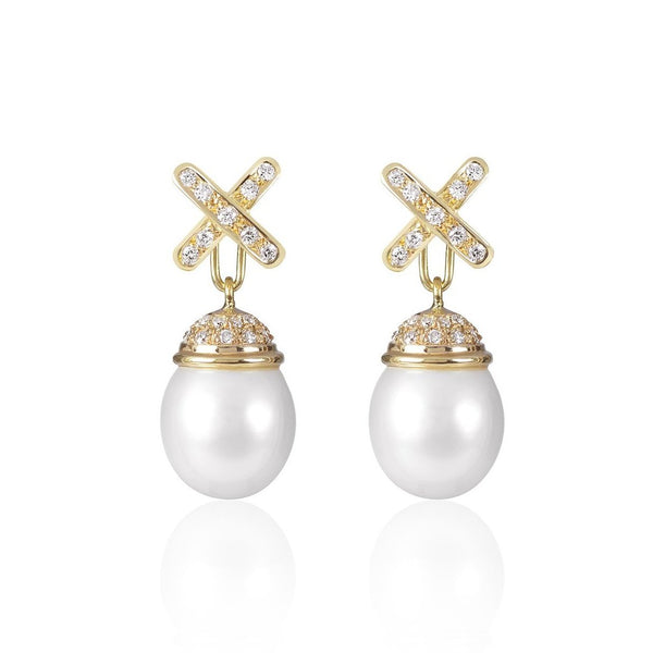 Decadent Cross Pearl Earrings with detachable pendant by McFarlane Fine Jewellery