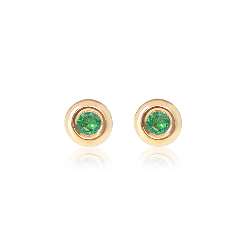 18ct yellow gold Emerald Studs by McFarlane Fine Jewellery
