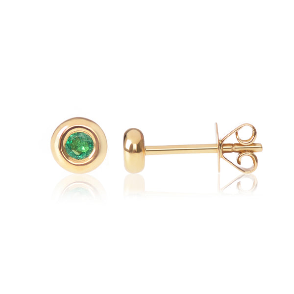 18ct yellow gold Emerald Studs side view by McFarlane Fine Jewellery