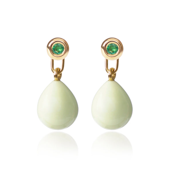 Emerald & Lemon Chrysoprase Earrings by McFarlane Fine Jewellery