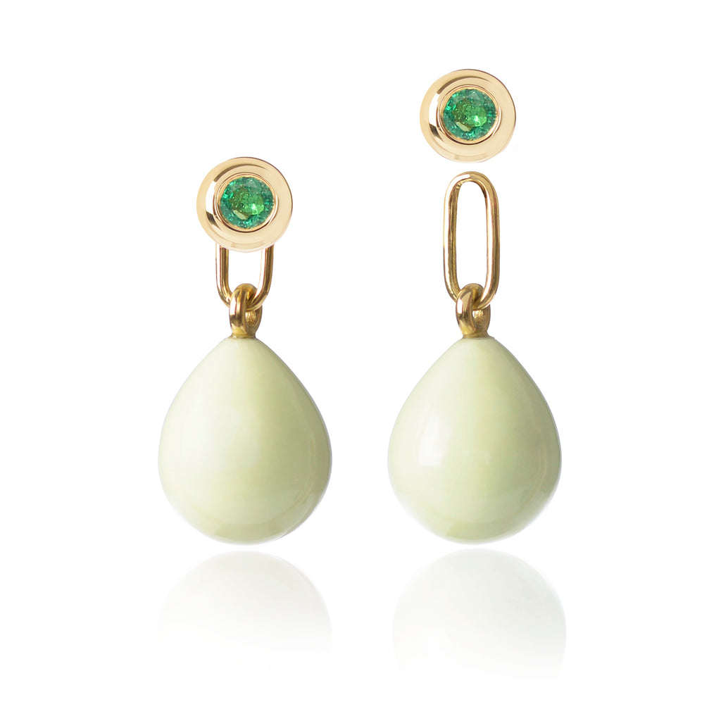 Emerald & Lemon Chrysoprase Earrings with one pendant detached by McFarlane Fine Jewellery