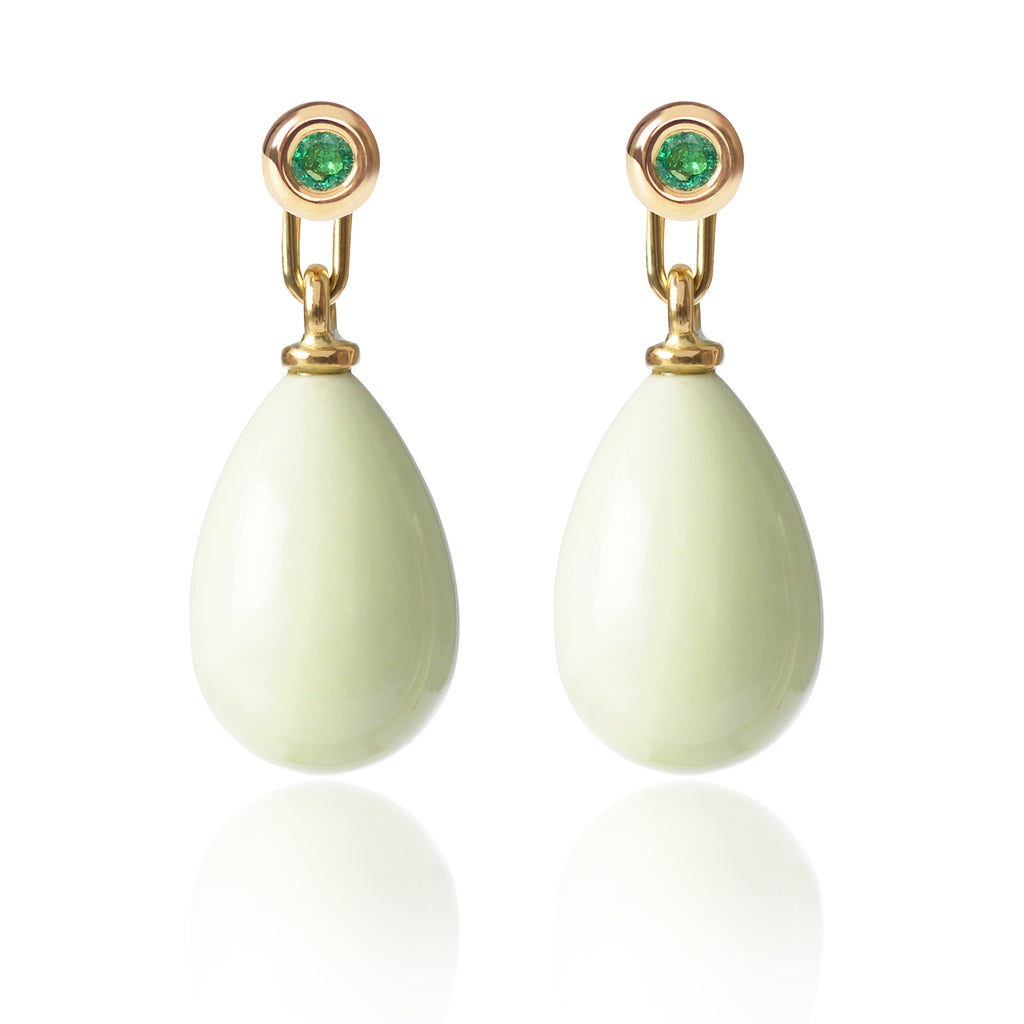 Emerald and Lemon Chrysoprase Earrings Medium by McFarlane Fine Jewellery