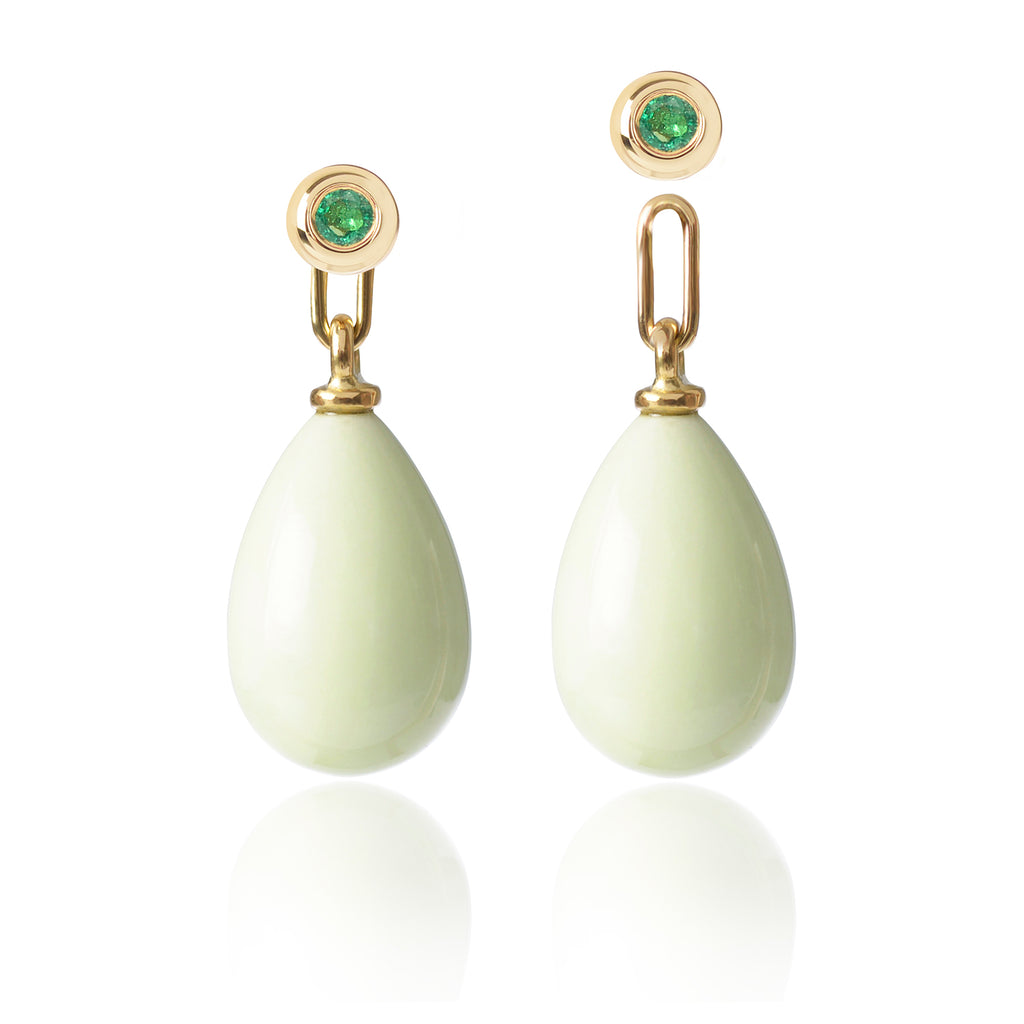 Emerald and Lemon Chrysoprase Earrings Medium one detached by McFarlane Fine Jewellery