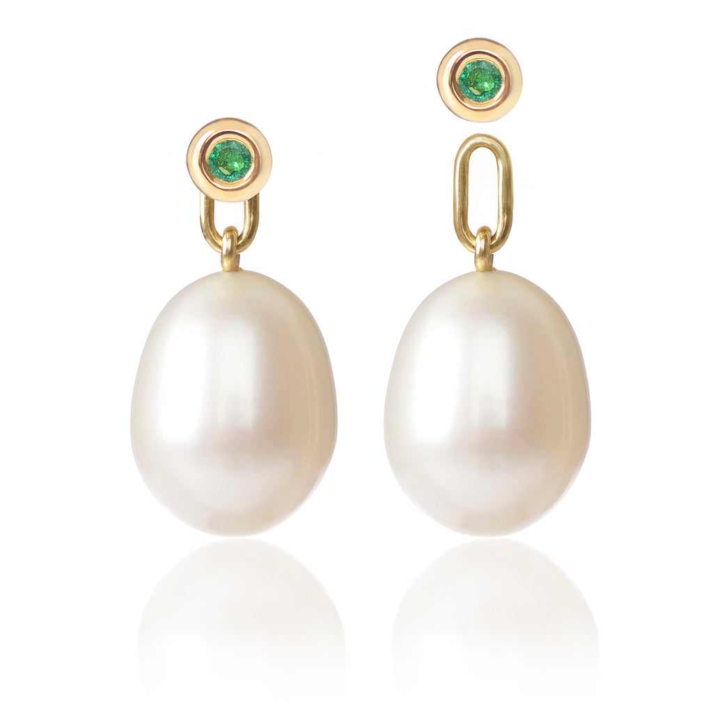 Emerald & Pearl Earrings with detachable pearl pendants by McFarlane Fine Jewellery