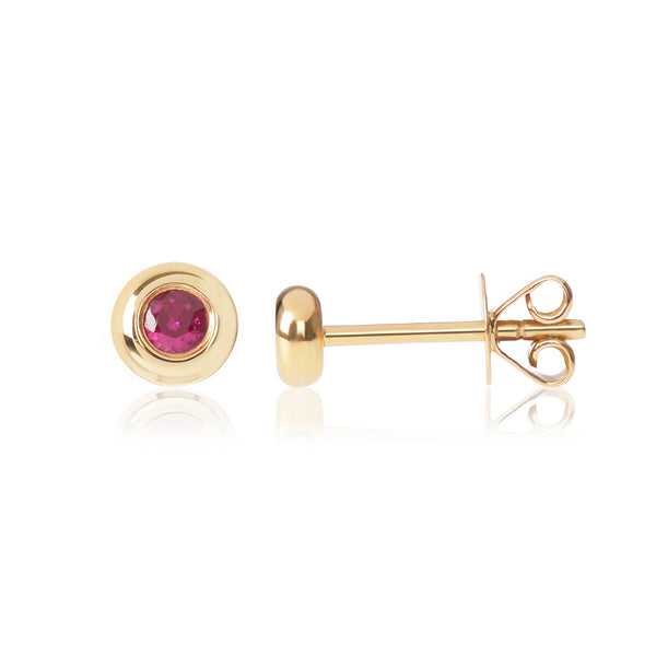 Ruby Studs side view by McFarlane Fine Jewellery