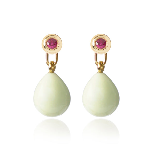 Ruby & Lemon Chrysoprase Earrings by McFarlane Fine Jewellery