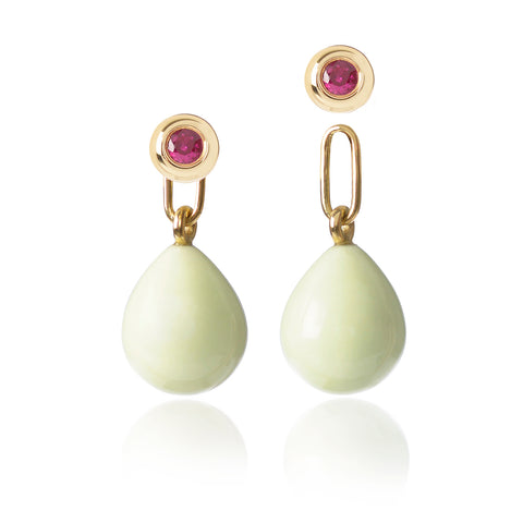 Ruby & Lemon Chrysoprase Earrings with one pendant detached by McFarlane Fine Jewellery