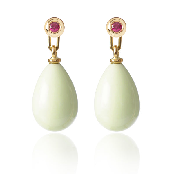 Ruby and Lemon Chrysoprase Earrings Medium by McFarlane Fine Jewellery