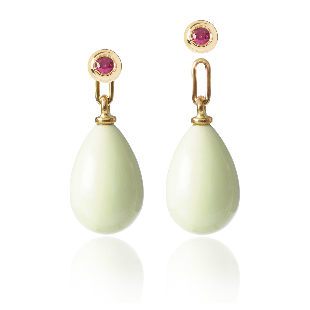 Ruby and Lemon Chrysoprase Earrings Medium with one pendant detached by McFarlane Fine Jewellery