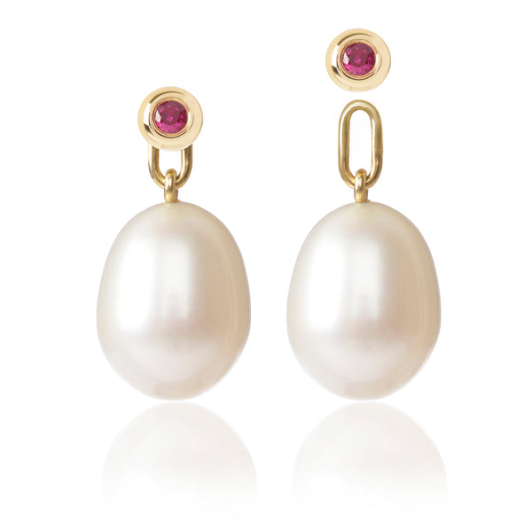 Ruby & Pearl Earrings with one pearl detached by McFarlane Fine Jewellery