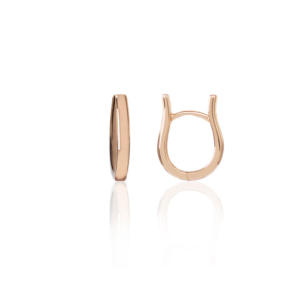 Rose Gold Loop Earrings side view by McFarlane Fine Jewellery