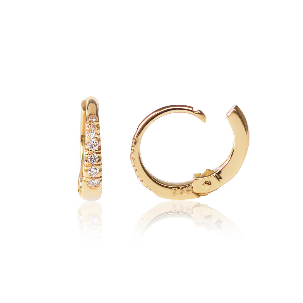 18ct yellow gold Diamond Huggy Pair side view by McFarlane Fine Jewellery