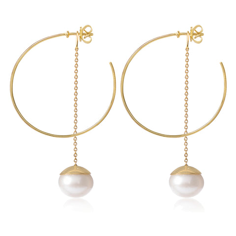 Esmeralda Pearl Hoops Large by McFarlane Fine Jewellery