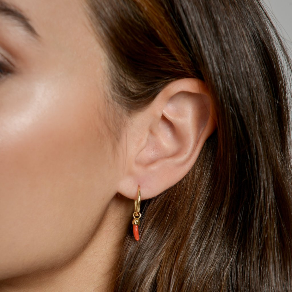 Little Chilli Gold Closed Hoop as modelled by Anna for McFarlane Fine Jewellery