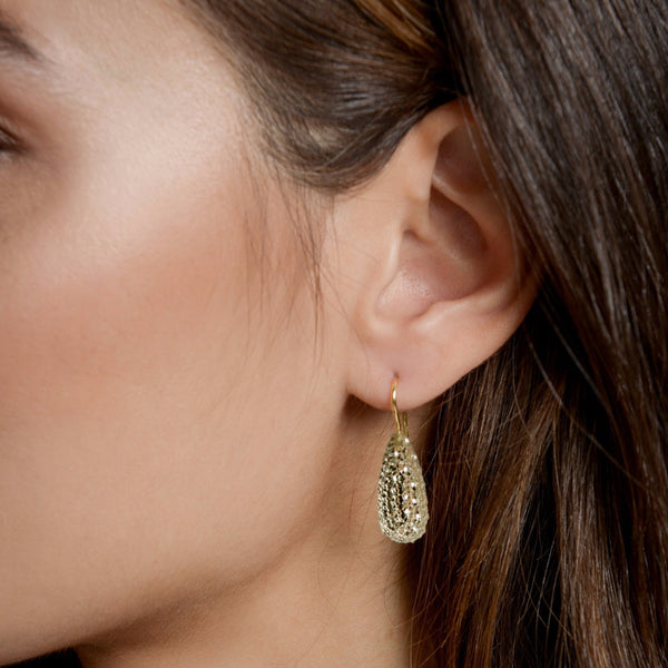 Anna wearing our Laser Cut Prasiolite Earrings