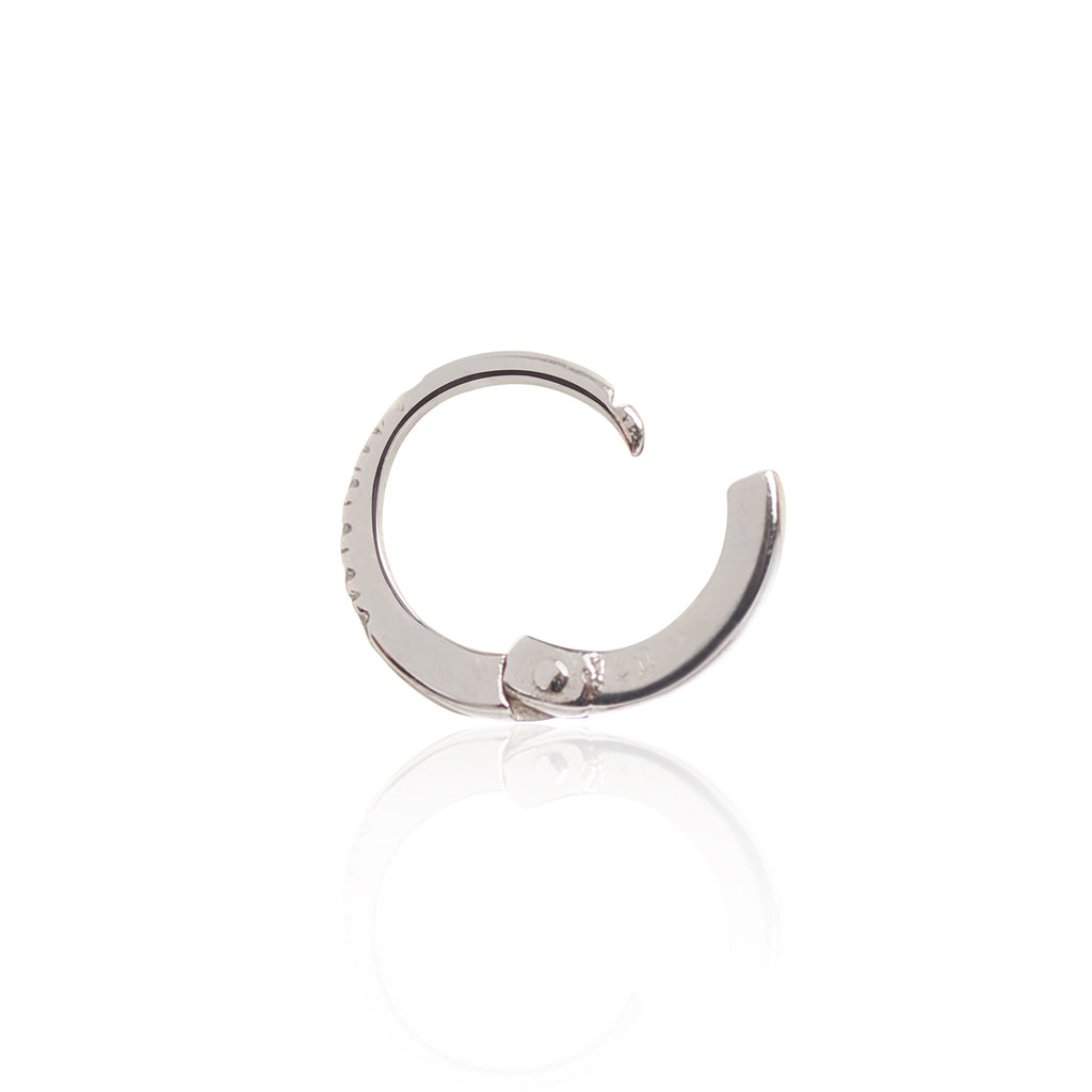 18ct White Gold Diamond Huggy side view by McFarlane Fine Jewellery