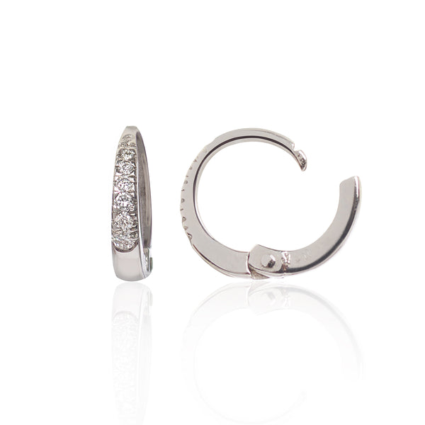 18ct White Gold Diamond Huggies side view by McFarlane Fine Jewellery