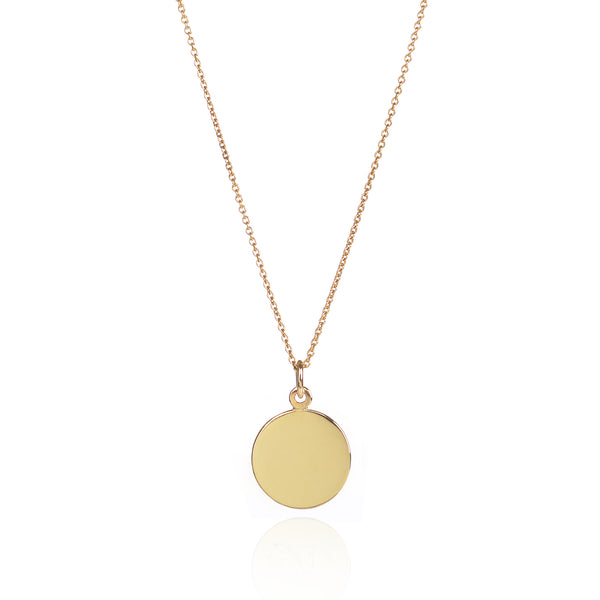 18ct Yellow Gold Customisable Disc Necklace by McFarlane Fine Jewellery
