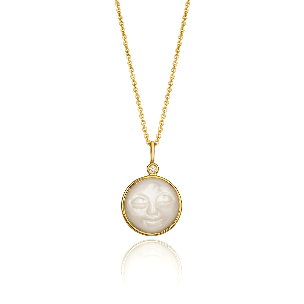 Mother of Pearl Moon Necklace with Little Diamond by McFarlane Fine Jewellery