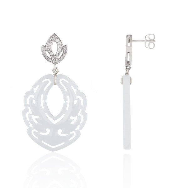 Diamond Lotus and White Jade Earrings by McFarlane Fine Jewellery