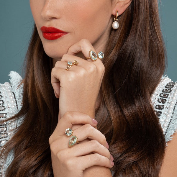 Lilian wearing the No. 2 and No. 3 Rings with the Aquamarine and Prasiolite Duet Rings and the Chunky Polished Gold Hoops with Pearl Earring Pendants by McFarlane Fine Jewellery