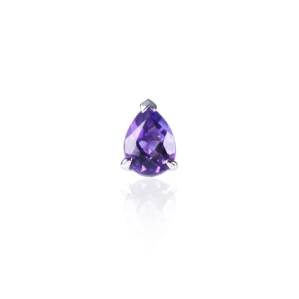 Faceted Amethyst Stud in 18ct white gold by McFarlane Fine Jewellery