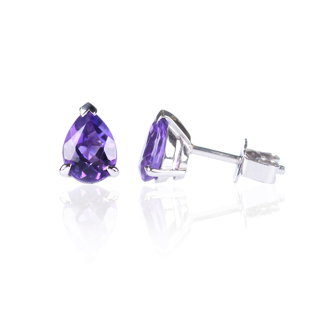Amethyst Drop Stud Earrings in 18ct white gold side view by McFarlane Fine Jewellery
