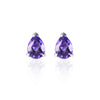 Amethyst Drop Stud Earrings by Love Is in 18ct white gold