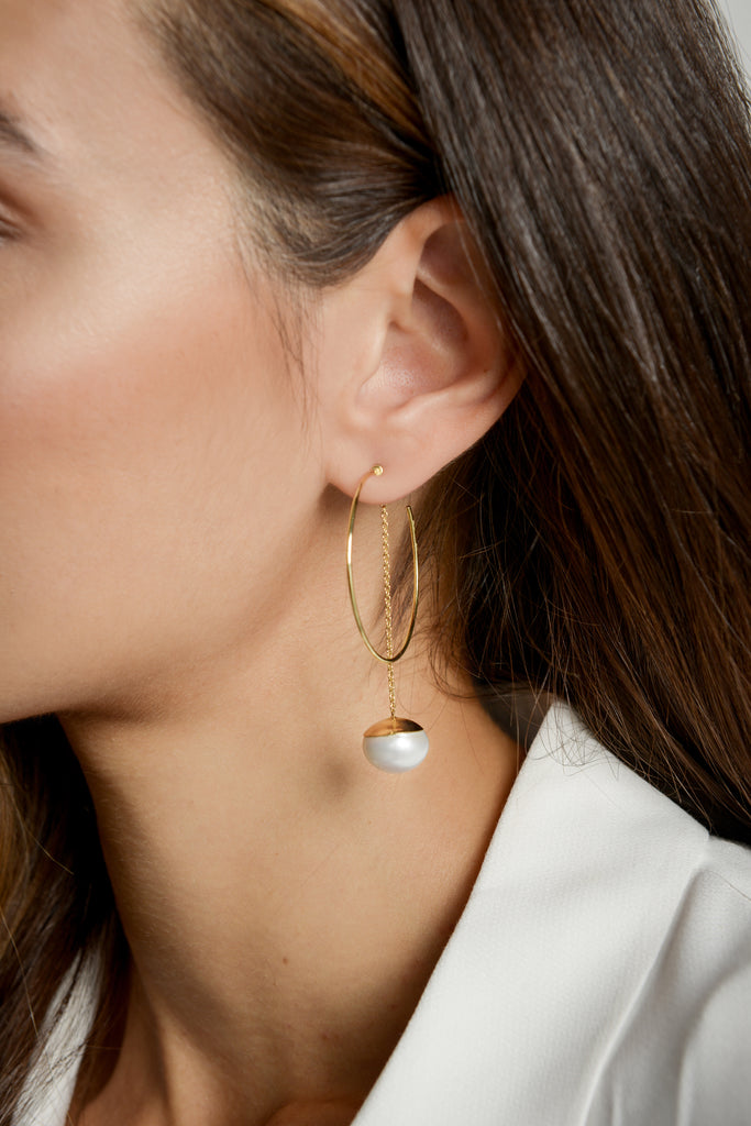 Anna wearing our Large Esmeralda Hoops with Long Chain Pearl Earring Pendants by McFarlane Fine Jewellery